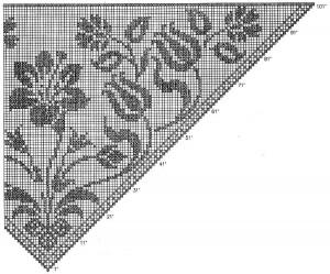 Филейная шаль с цветами