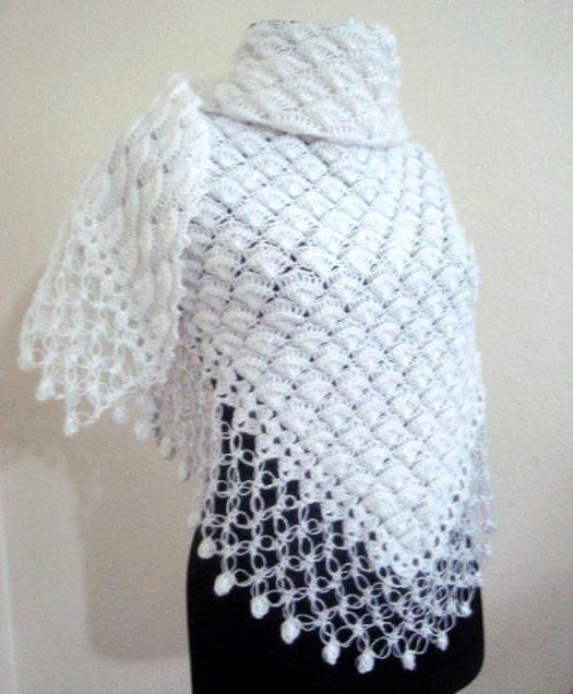 вязание крючком шали от угла