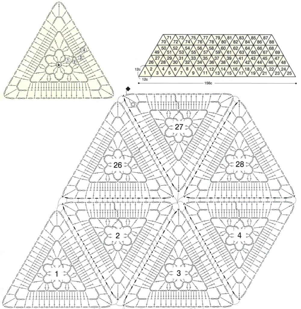 Треугольные схемы вязания крючком 19