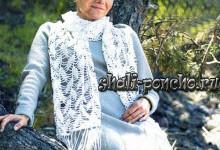 Ажурный шарф Листочки