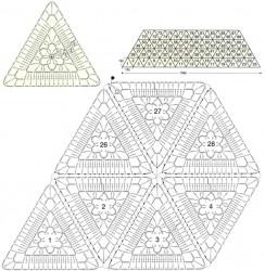 Белый палантин из треугольных мотивов