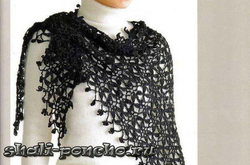 Черная шаль безотрывным вязанием