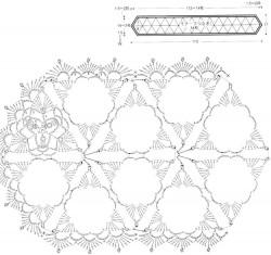 Шарф из треугольных мотивов с попкорном