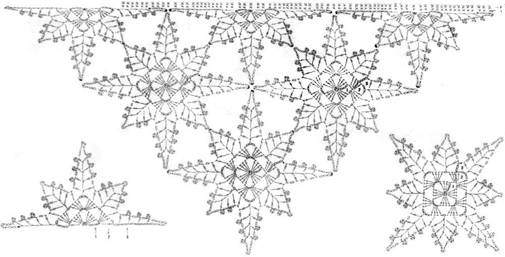 Вязание крючком из мотивов шали схемы и