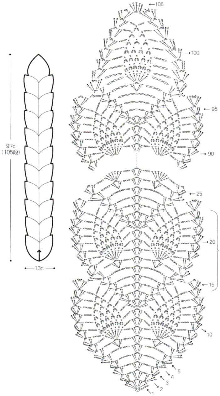 Вязание шарфика начинают со скользящей петли и далее вяжут 105 рядов по схеме, повторяя с 15-го по 23 ряд
