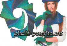 Спиральный шарф с уголками тунисским вязанием