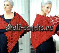 Теплая красная шаль
