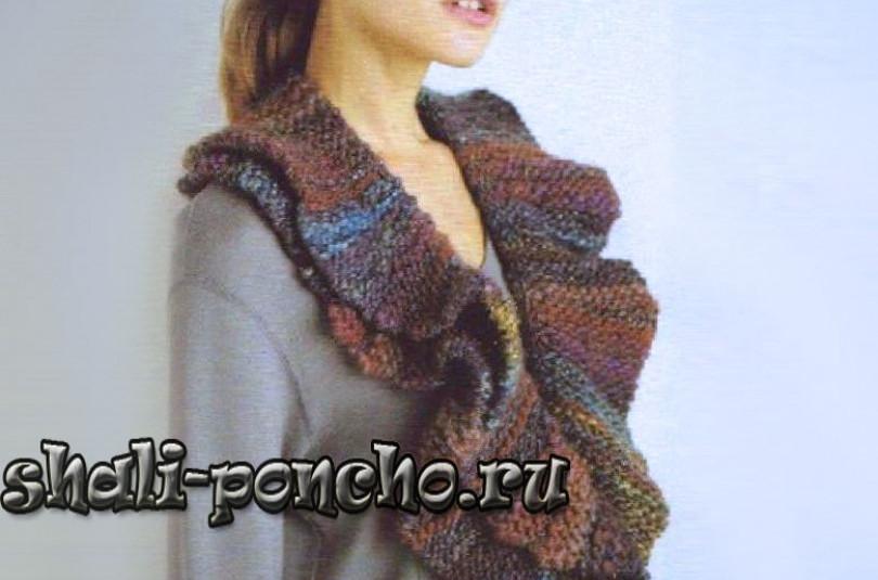 Волнистый шарф частичным вязанием