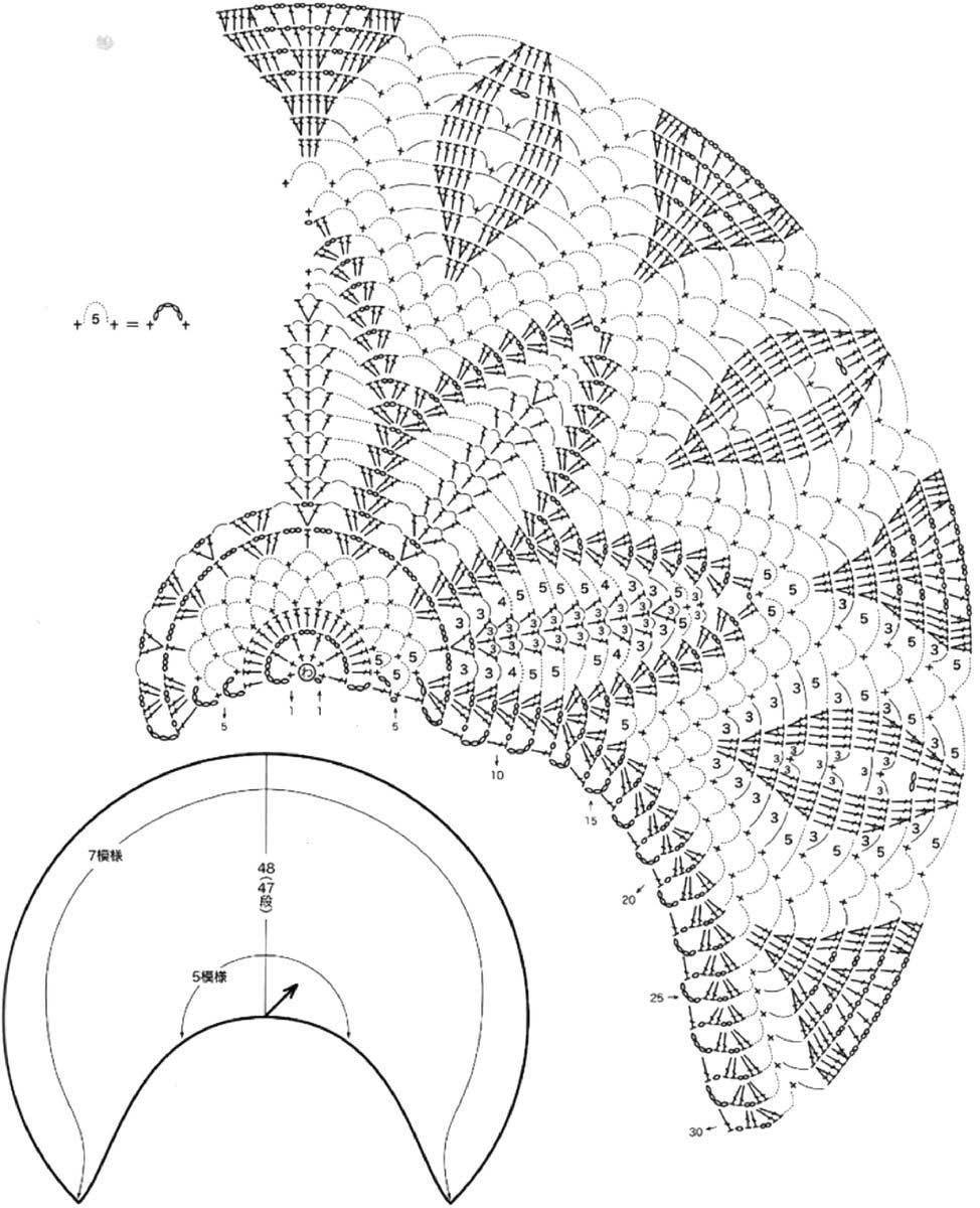 Вязание крючком полукруглых шалей 910