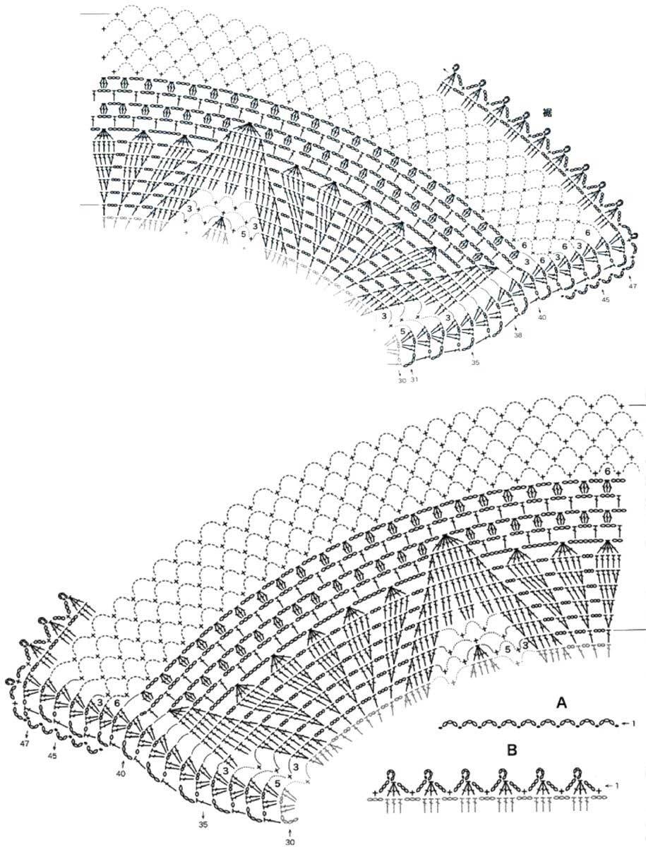Вязание крючком полукруглых шалей 211