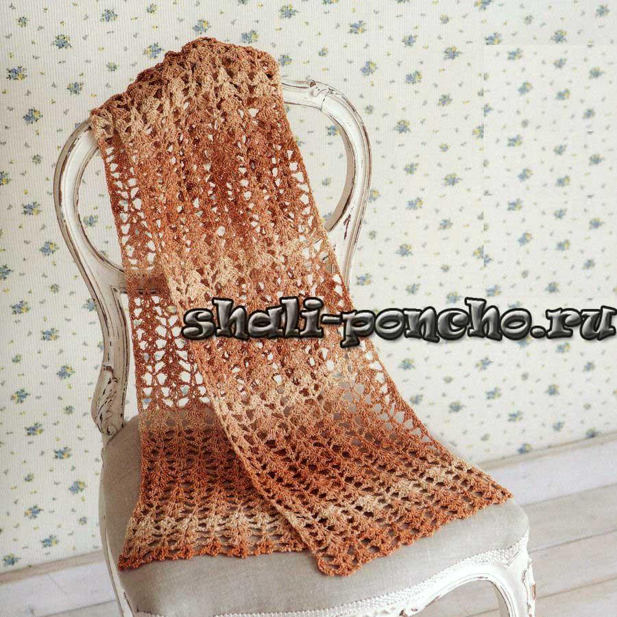 шарф крючьком схема