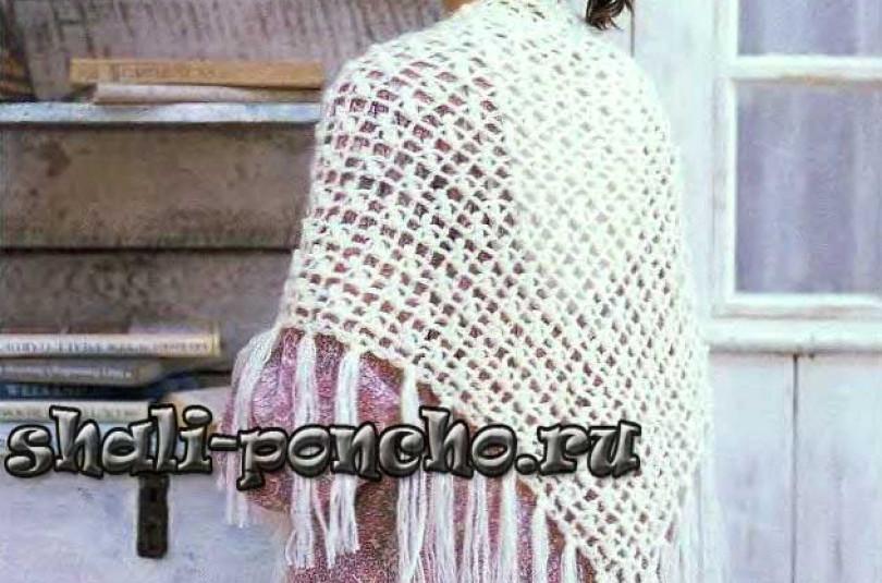 Ажурная белая шаль