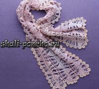 Ажурный шарф из полос на вилке