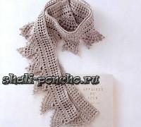 Ажурный шарф с асимметричными фестонами