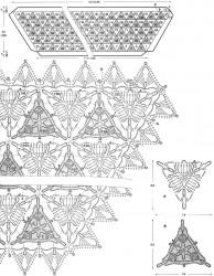 Бежевый палантин из треугольных мотивов