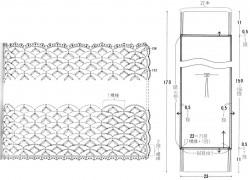 Шарф сетчатым узором с пышными столбиками