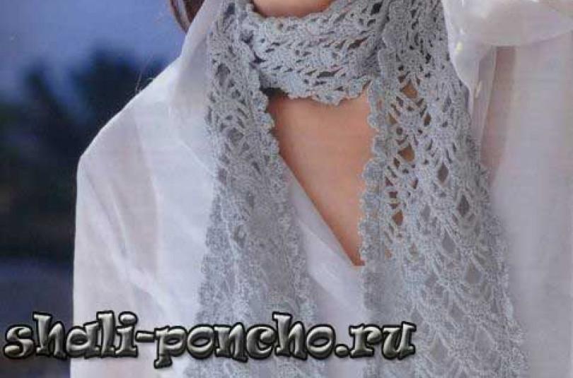 Ажурный светло-серый шарф