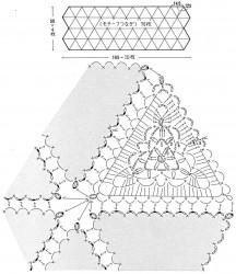 Уютный палантин из треугольных мотивов