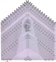Филейная шаль с ажурными полосками